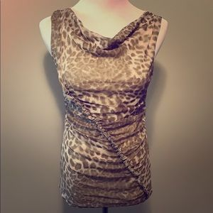 New York & Company Leopard rouched tank